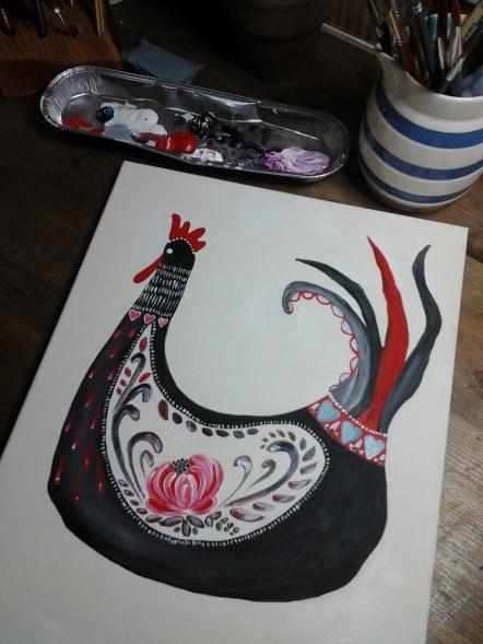 Folk art rooster,work in progress
