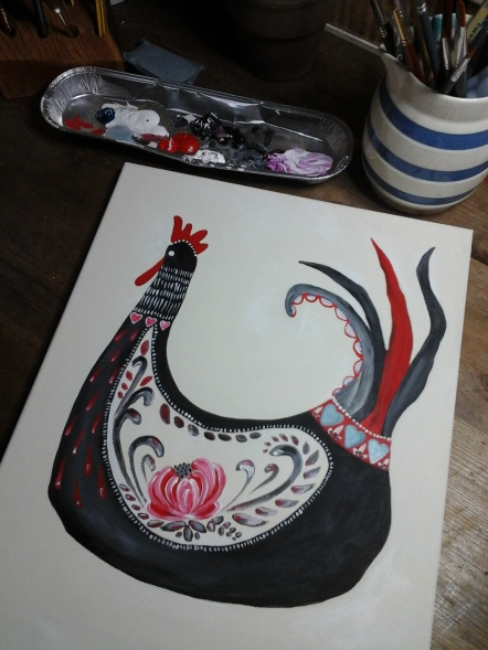Folk art rooster,work in progress