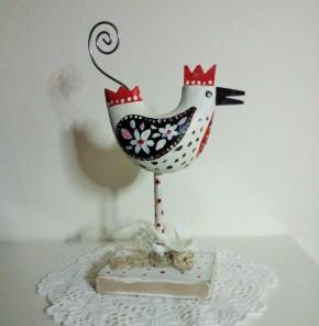Upcycled folkart hen