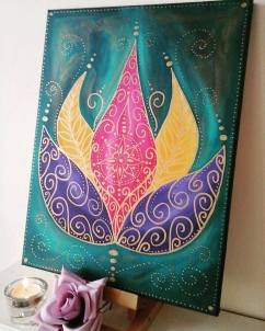 lotus painting on canvas ~ www.etsy.com/uk/shop/heartofnatutestudio